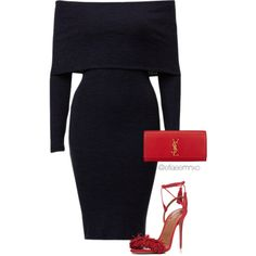 Black x Red by efiaeemnxo on Polyvore featuring polyvore fashion style Aquazzura Yves Saint Laurent Franklin