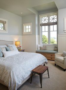 """Pretty Bedroom! Sherwin Williams Topsail SW6217 on walls, Wainscoting Paneling is mdf 5"""" bead wall board in sheets painted Benjamin Moore White Dove OC-17, oatmeal colored headboard with nail head, light blue patterned bedding"""