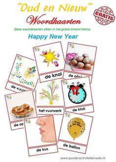 """Heeft u de """"oud en nieuw"""" woordkaarten al gedownload? Deze staan in het inimini thema Happy New Year. Gratis downloaden via de website van www.peuteractiviteitenweb.nl info@peuteractiviteitenweb.nl"""