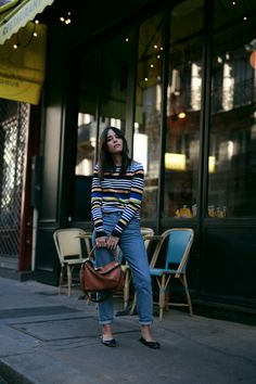 Nisi wearing Loewe Puzzle Bag, Chloé Lauren Flats, Monki Mom Jeans and Zara Striped Longsleeve - teetharejade.com