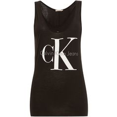 Calvin Klein Sleeveless Re-issue Logo tank ($50) ❤ liked on Polyvore featuring tops, black, women, denim vest, sleeveless tank, calvin klein vest, black denim vest and black singlet