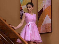 Violetta in her moms dress