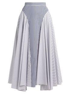 ADAM LIPPES Gestreifter Baumwollrock mit Taschentuch Source by tillageclothing Skirt Outfits, Dress Skirt, Skirt Pants, Midi Skirt, Blue And White Skirts, Ankle Length Skirt, Asymmetrical Skirt, Cotton Skirt, Stripe Skirt