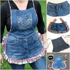 Apron of Jeans. Diy Jeans, Jeans And Vans, Jean Crafts, Denim Crafts, Jean Diy, Jean Apron, Denim Purse, Denim Ideas, Sewing Aprons