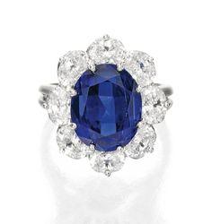 Platinum, Sapphire and Diamond Ring, Oscar Heyman & Brothers, 1986