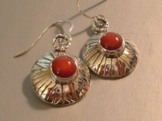 Coral and Sterling Silver Earrings by DonnasSerendipity on Etsy, $38.00