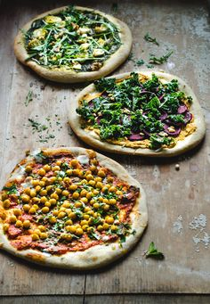 egan Pizza - 3 Ways - The Mean Green, The Hummus Beet and The Crunchy Indian