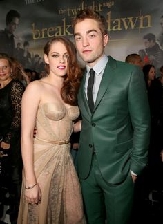 Kristen Stewart and Robert Pattinson together on the red carpet at The Twilight Saga: Breaking Dawn 2 premiere