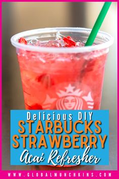 Whether it is summertime or spring break, I am always trying to find a way to entertain my kiddos. Often that means taking a trip to Starbucks, which can get pricey with 5 kids. Since we haven't won Starbucks for Life, I decided we should start making some of our own Starbucks drinks as a fun way to entertain the kids and save some serious money. You don't have to be a skilled, fast-paced barista to craft the perfect drink. Starbucks Hacks, Starbucks Refreshers, Starbucks Drinks, Pink Drinks, Summer Drinks, Acai Refresher Recipe, Starbucks Strawberry Acai Refresher, Passion Tea Lemonade, Freeze Dried Strawberries