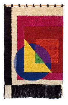 Margaretha Reichardt, Bauhaus carpet, 1978. Angermuseum Erfurt. Playing with colors, shapes, overlapping, defining lines. What a piece!