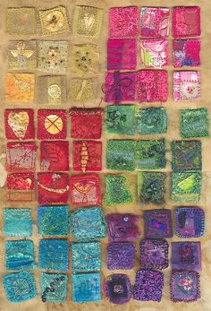 six lots of nine one inch fabric squares by Judy Scott Gold Fabric, Fabric Art, Hand Embroidery, Machine Embroidery, Fabric Squares, Fabric Manipulation, Mini Quilts, Art Plastique, Fabric Scraps