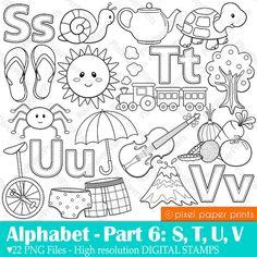 Alphabet Digital Stamps Part 6 STUV clip art by pixelpaperprints