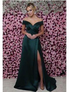 Sale Comfortable Green Prom Dress Off The Shoulder Mermaid Prom Dresses Sexy Thigh Split Green Formal Dresses Green Evening Dress, Cheap Evening Dresses, Cheap Dresses, Sexy Dresses, Evening Gowns, Beautiful Dresses, Green Formal Dresses, Strapless Dress Formal, Blush Prom Dress