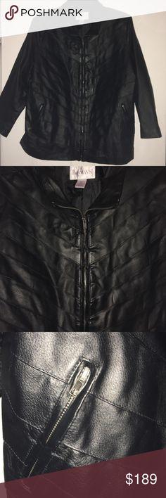 NWOT - Black Leather Jacket Roaman's Black Leather Jacket  100% Leather  Stylish Design Roaman's Jackets & Coats