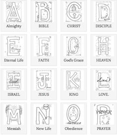 These are some beautifully illustrated Biblical ABCs for coloring!