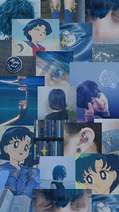 Sailor Moon Aesthetic, Aesthetic Art, Aesthetic Pictures, Aqua Wallpaper, Sailor Moon Wallpaper, Saylor Moon, Collages, Exo Lockscreen, Exo Xiumin