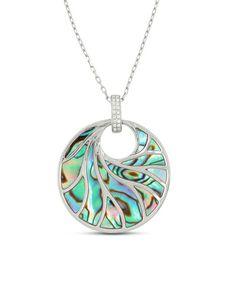 P6591 Frederic Sage Venus Abalone & Diamond Pendant Necklace