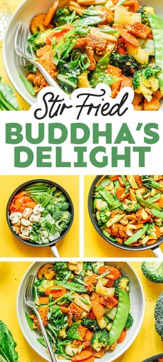 This easy Buddha's Delight recipe (or Lo Han Jai) is the ultimate veggie-packed dinner that's packed with flavor, veggies, and seitan! It's a healthy dinner recipe that your family will love. #vegan #vegetarian #stirfry #seitan Vegetarian Salad Recipes, Best Vegan Recipes, Vegan Dinner Recipes, Vegan Dinners, Vegetable Recipes, Asian Recipes, Vegan Vegetarian, Healthy Recipes, Asian Vegetables