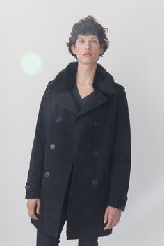 LEMPELIUS Fall Winter 2015 16 Men Black Caban Jacket with lamb fur collar