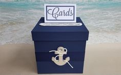 ROPED Nautical Card Box - Navy Blue with Anchor -Your Choice of Colors- Beach Coastal Shower Baby Wedding Cardbox Wishing Well - Custom by ParadiseBridal on Etsy