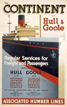 'The Continent via Hull & Goole', BR poster, 1952., Rodmell, Harry Hudson