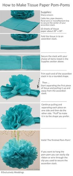How to make tissue paper pom-poms. Made these for a friends baby shower. So cute, easy and cheap! (How To Make Friends Baby Shower) Frozen Birthday Party, Frozen Party, Birthday Parties, Idee Baby Shower, Baby Shower Wall Decor, Cute Baby Shower Ideas, Diy Wedding, Wedding Ideas, Wedding Poms