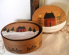Hand Painted Nesting Prim Saltbox Set Boxes OFG by ATouchofTole