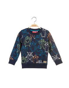 Someone - Donkerblauwe sweater met multikleurige monsterprint
