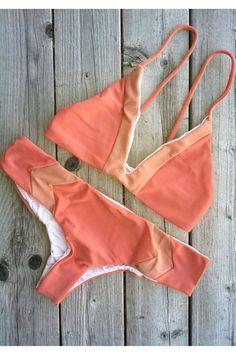 Acacia Pupukea Top and Mentawai Bottom Papaya/Topless | Mango Molli Swimwear