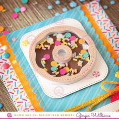 Queen and Company Sweet Shop Shaker Card Kit. Cricut Cards, Shaker Cards, Origami, Card Kit, Recipe Cards, Donuts, Cardmaking, Food Cards, Birthday Cake