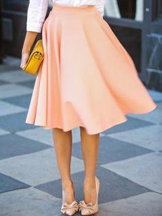 Elegant High-Waisted Solid Color Women's Skirt