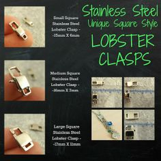 1 Unique Stainless Steel SQUARE Lobster Clasp by UnkamenSupplies