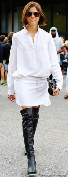 How to wear a white shirt. Pairing white shirt with white skirts. White shirt street style looks.