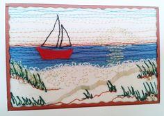 """""""Boot am Meer"""", 6,5 x 8,5 cm"""