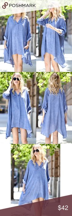 JORDAN button up sleeve dress/top - DENIM BLUE Uber comfy v-neck casual dress with Button up sleeves. Can also be worn as tunic top. AVAILABLE IN GREY & DENIM BLUE Fabric 100% Rayon  Made in USA. NO TRADE, PRICE FIRM striped Bellanblue Dresses