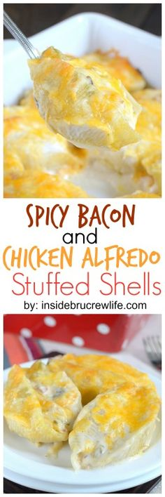 Spicy chilies and bacon add a fun and delicious flavor to these easy chicken Alfredo stuffed shells.