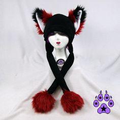 RED FOX kitsune cat Puffet Hat fleece warm ear flap strap ski furry goth rave anime cosplay  $35