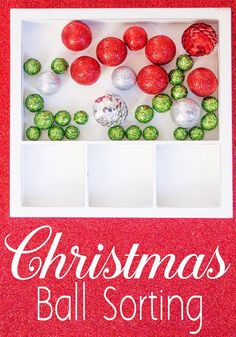Try this Christmas ball sorting activity for kids from Life Over C's! What toddler or preschooler can resist these shiny Christmas balls? This Christmas color sorting activity is super easy to set up, but so fun for the kids! Make sure that you set up a Christmas ball activity for your toddlers this holiday season! #christmas #toddler #holiday #kidsactivities #preschool