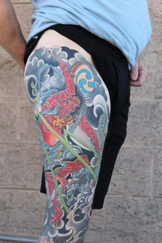 Raijin Leg Sleeve Tattoo by  @ancientastime