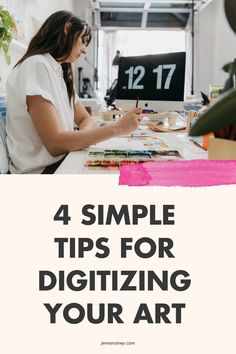 Simple tips to digitize your art. If you're feeling stumped when it comes to digitizing your artwork, I've been there. Understanding scanner settings, file types and how to work Photoshop just don't come naturally unfortunately, so here are a couple steps to help guide you through it. #artwork #artist Creating A Business Plan, Business Planning, Business Tips, Happy Little Trees, Online Checks, Selling Art Online, Free Courses, Surface Pattern Design, Creative Business