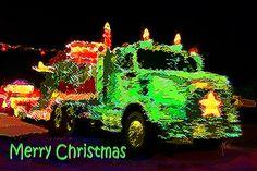 Christmas Timber Truck Parade by Michele Avanti, Myrtle Creek, Oregon, #trucks, #Christmas, #parade