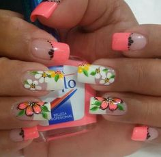 Love the peach! Gorgeous Nails, Pretty Nails, Sunflower Nail Art, Nail Art Printer, Nagel Bling, Nail Time, Nail Candy, French Tip Nails, Toe Nail Designs