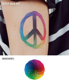 Rainbow Peace | 22 Insanely Clever Temporary Tattoo Hacks. Would be a cool real tat @freakinfab
