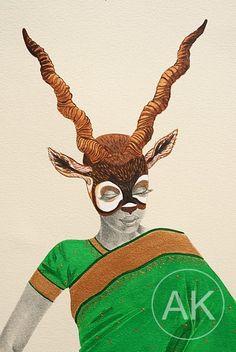 Fashion illustration Acrylic painting Indian by KhaliNouveau