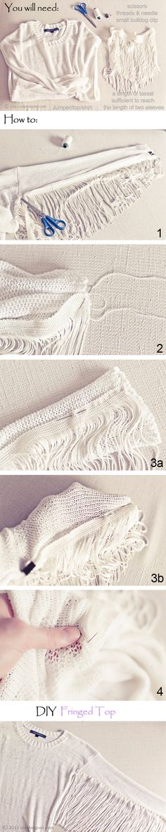 fringed top - great idea for refashioning your top or skirt Diy Clothing, Clothing Patterns, Sewing Patterns, Sewing Crafts, Sewing Projects, Sewing Shirts, Couture Sewing, Diy Beauty, Diy Fashion