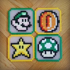 Mario coasters perler beads by Thea IMYBY Super Mario, Yoshi, Perler Bead Mario, Pony Beads, Mario Bros, Bead Crafts, Perler Beads, Beading Patterns, Coasters