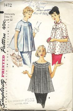 Simplicity 1472 Misses Maternity Sewing Pattern, Maternity Tops With Detachable Collar And Cuffs, Size 14, Bust 32 by DawnsDesignBoutique on Etsy