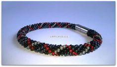 Men's seed beaded crochet bracelet for men jewelry от LariLaBelle