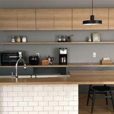 ・ gray×wood kitchen +subway tile and black interior ・ ・ #kitchen #kitchendesign #grayxwood #subwaytile #blackinterior #monotone #interior #interiordesign #凸lamp #coffeemaker #cuisinart #kähler #ikea #panasonic #hansjwegner #myhome #myhomestyle #lovemyhome #hiraya