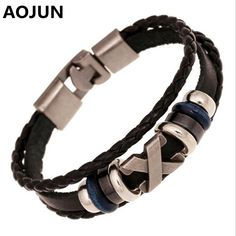 9877a16752a6 AOJUN 19 Models Friendship Bracelet Male 2017 Vintage Leather Bracelet Men  Charm Jewelry For Women Femme Drop shipping DK020-in Charm Bracelets from  Jewelry ...